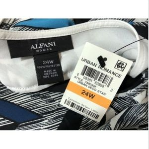 Alfani Tops - Alfani NWT Women's 16W 1X Blouse Blue Black Sheer